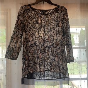 Simply Vera Navy Blue Sheer Blouse Size Medium